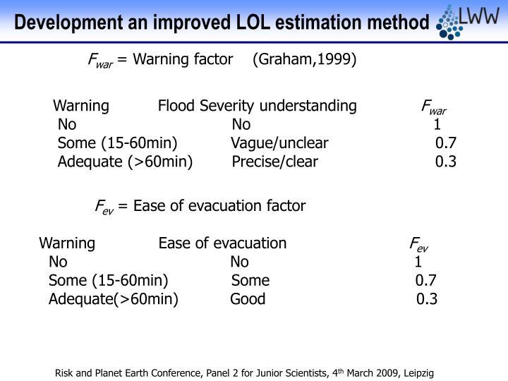 Development an improved LOL estimation method