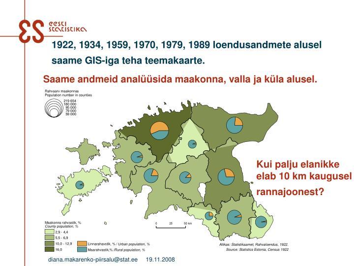 1922, 1934, 1959, 1970, 1979, 1989 loendusandmete alusel saame GIS-iga teha teemakaarte.