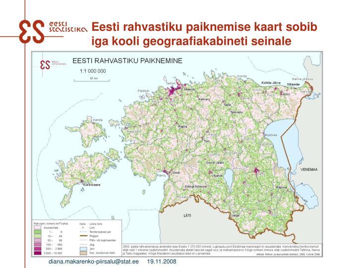 Eesti rahvastiku paiknemise kaart sobib