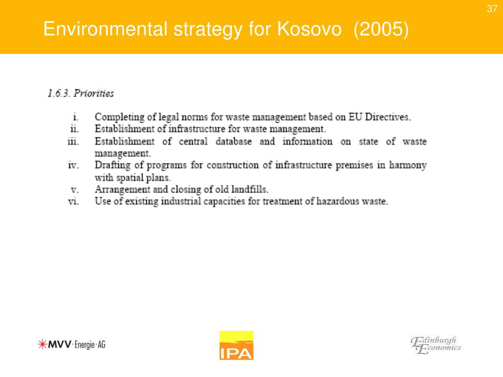 Environmental strategy for Kosovo  (2005)