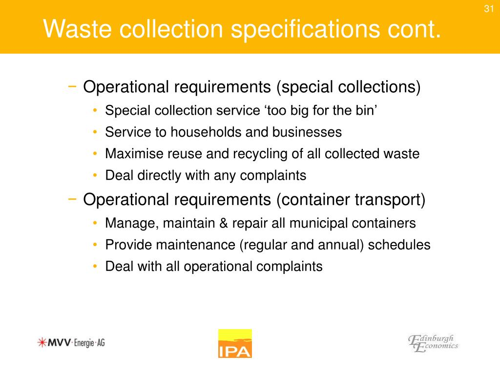 Waste collection specifications cont.