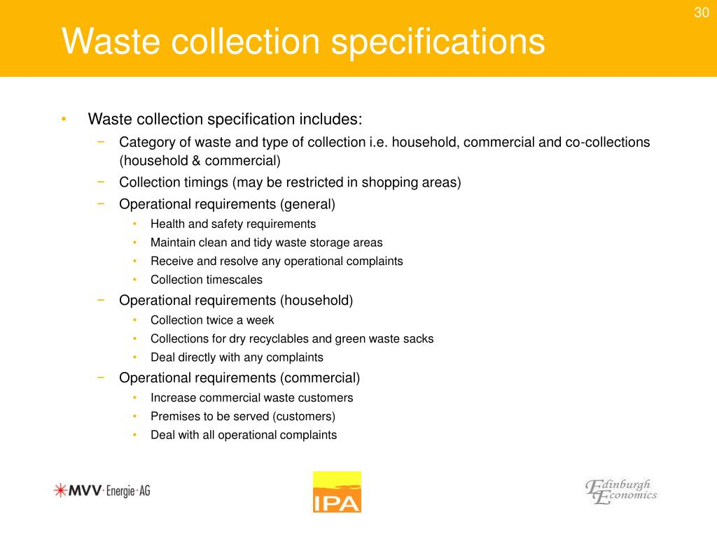 Waste collection specifications