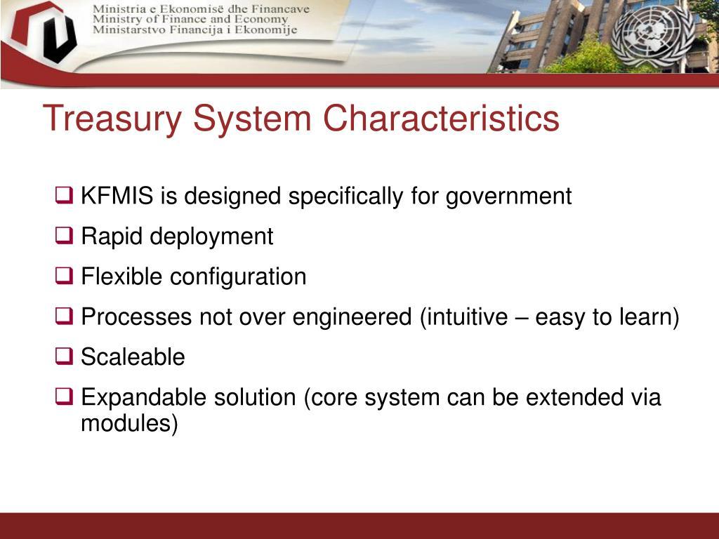 Treasury System Characteristics