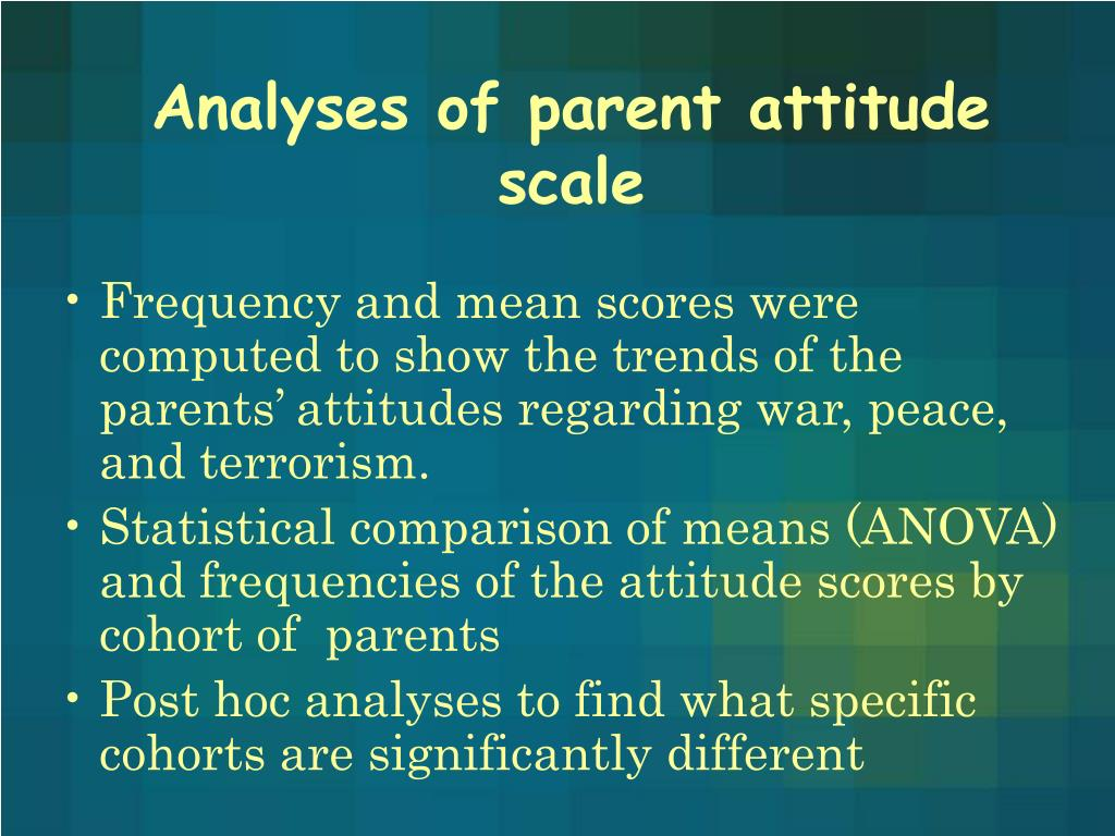 Analyses of parent attitude scale