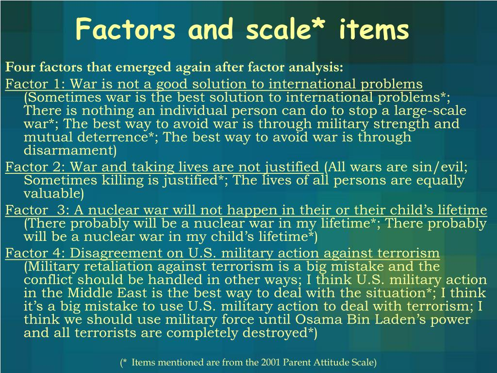 Factors and scale* items