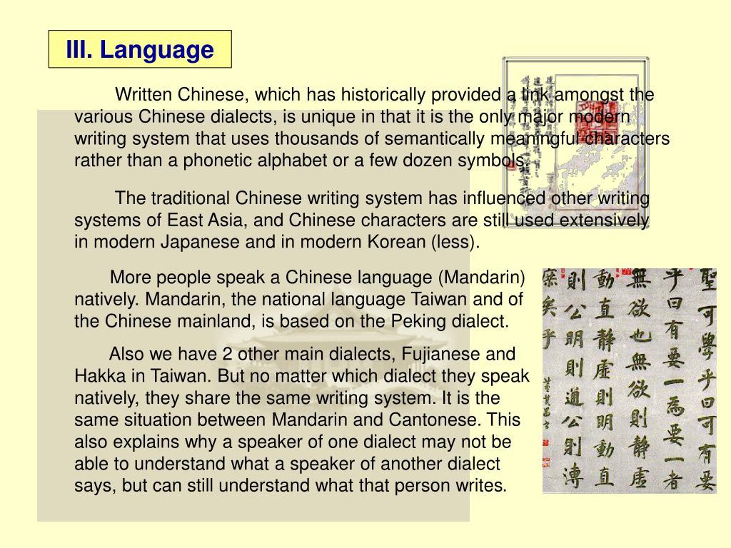 III. Language