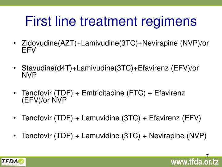 First line treatment regimens
