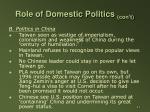 role of domestic politics con t11