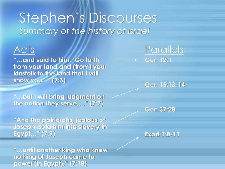 Stephen s discourses summary of the history of israel