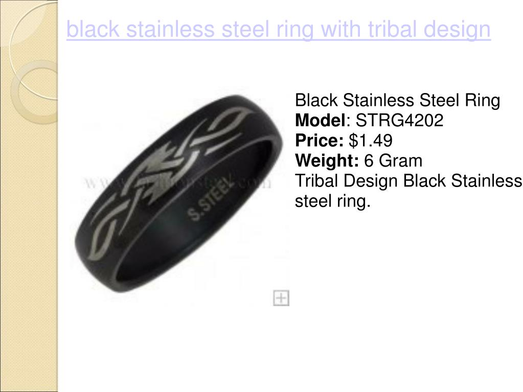 black stainless steel ring with tribal design