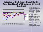 indicators of crude import diversity for six asian countries of apec members by import countries
