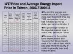 wti price and average energy import price in taiwan 2003 7 2004 8