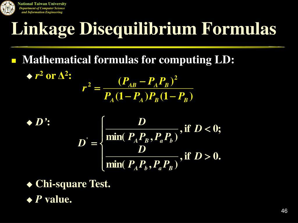 Linkage Disequilibrium Formulas