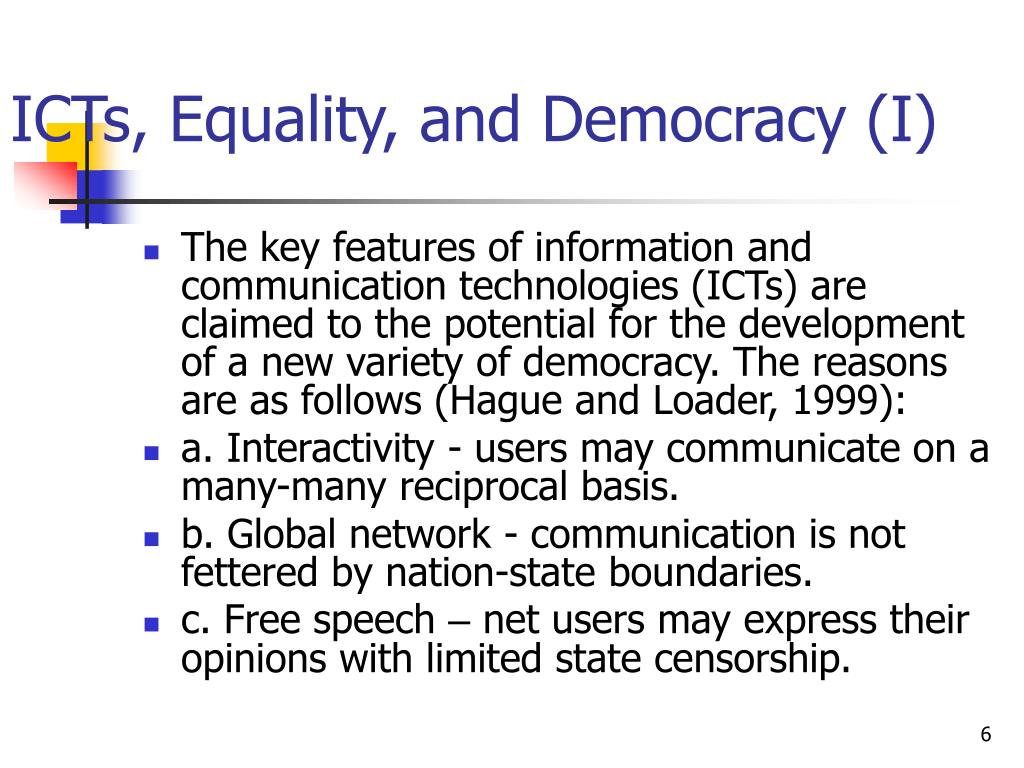 ICTs, Equality, and Democracy (I)