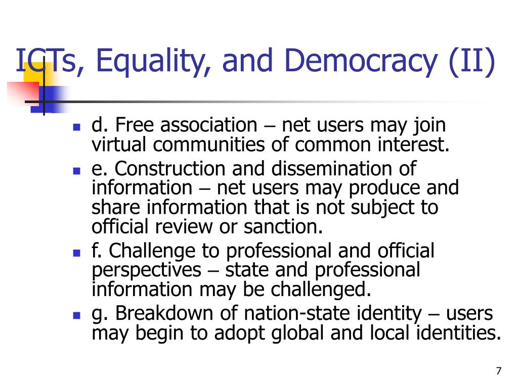 ICTs, Equality, and Democracy (II)
