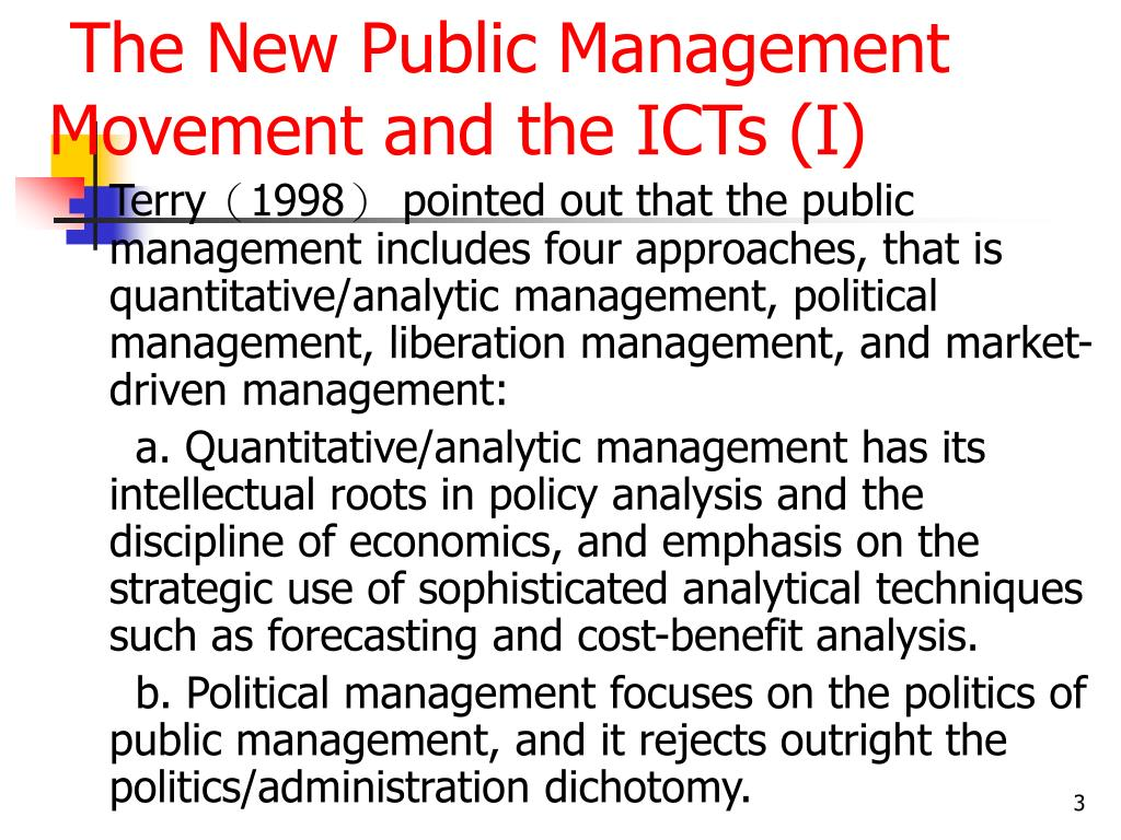 The New Public Management Movement and the ICTs (I)
