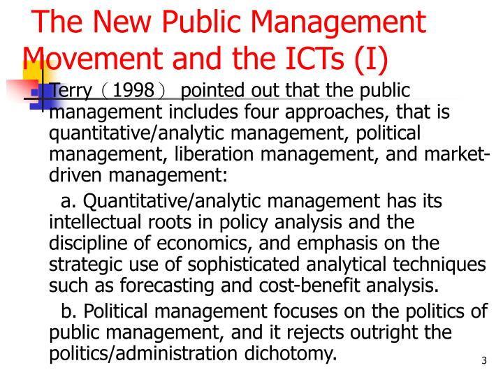 The new public management movement and the icts i