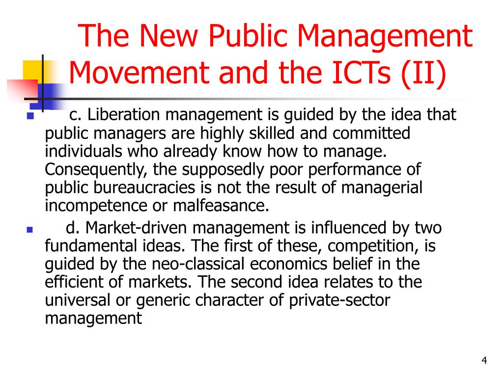 The New Public Management Movement and the ICTs (II)