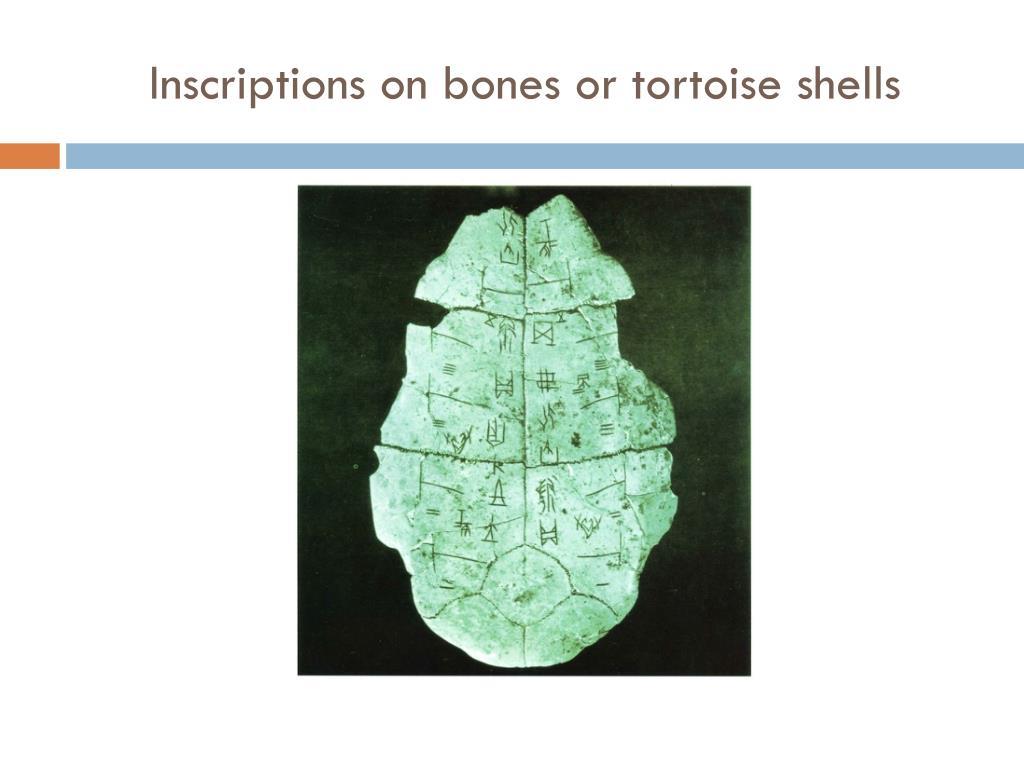 Inscriptions on bones or tortoise shells