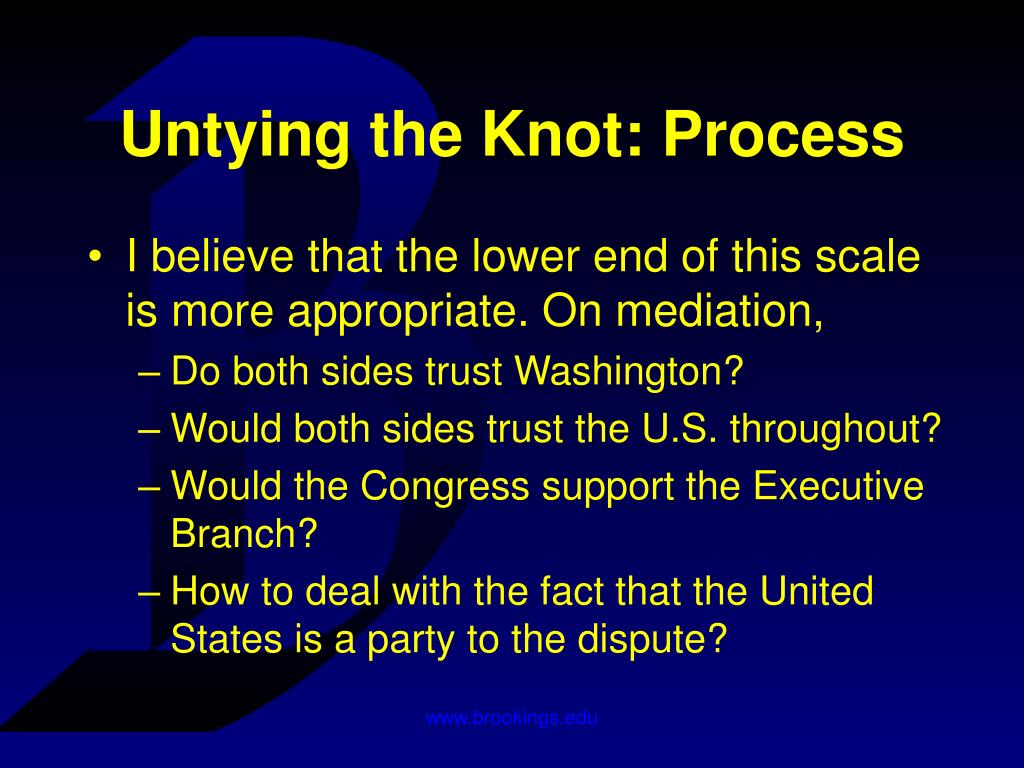 Untying the Knot: Process