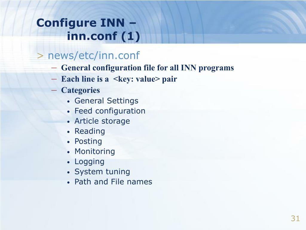 Configure INN –