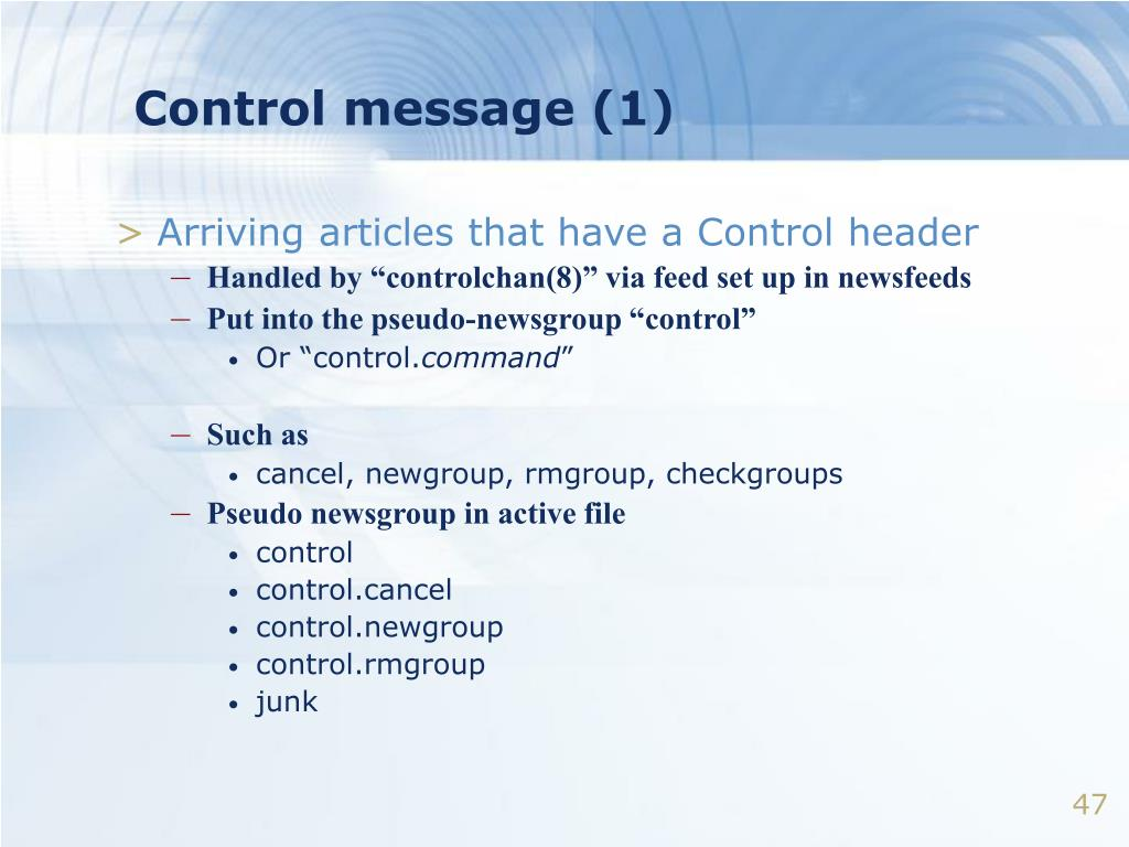Control message (1)