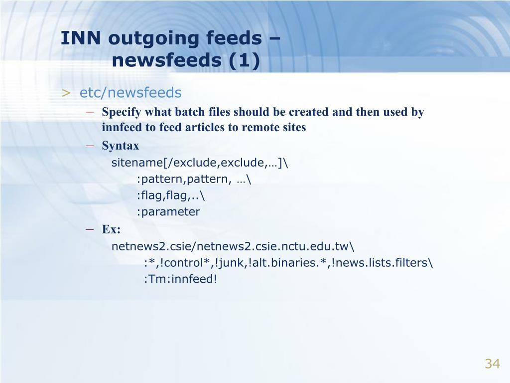 INN outgoing feeds –