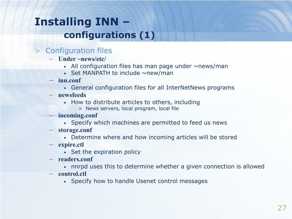 Installing INN –