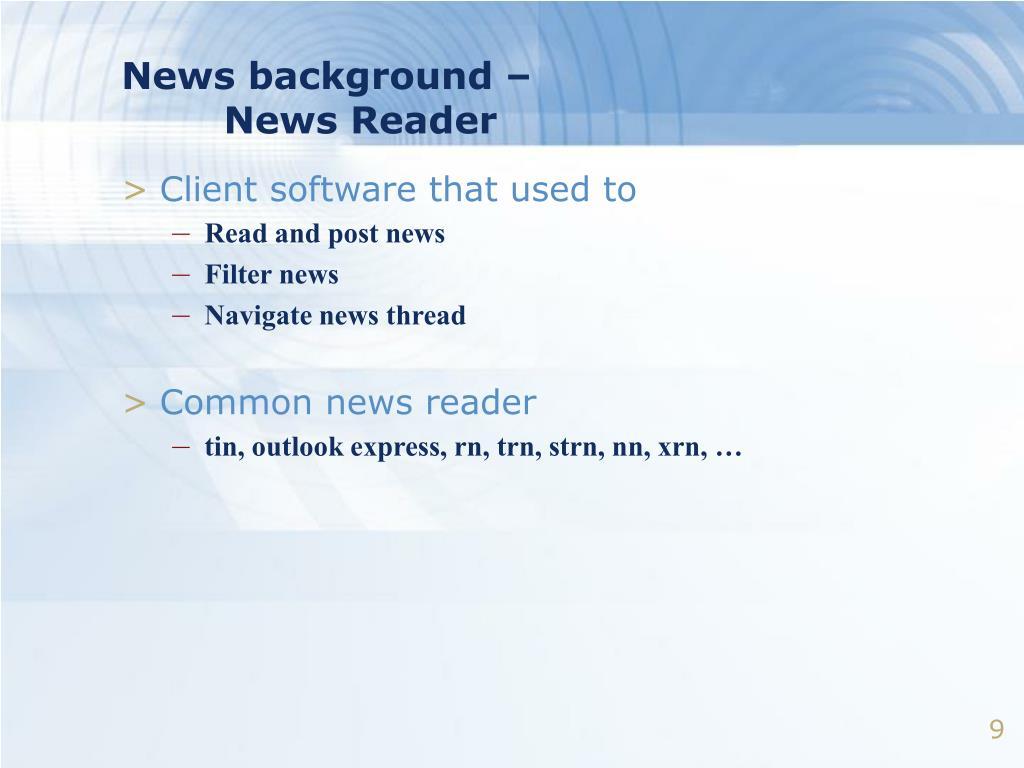 News background –