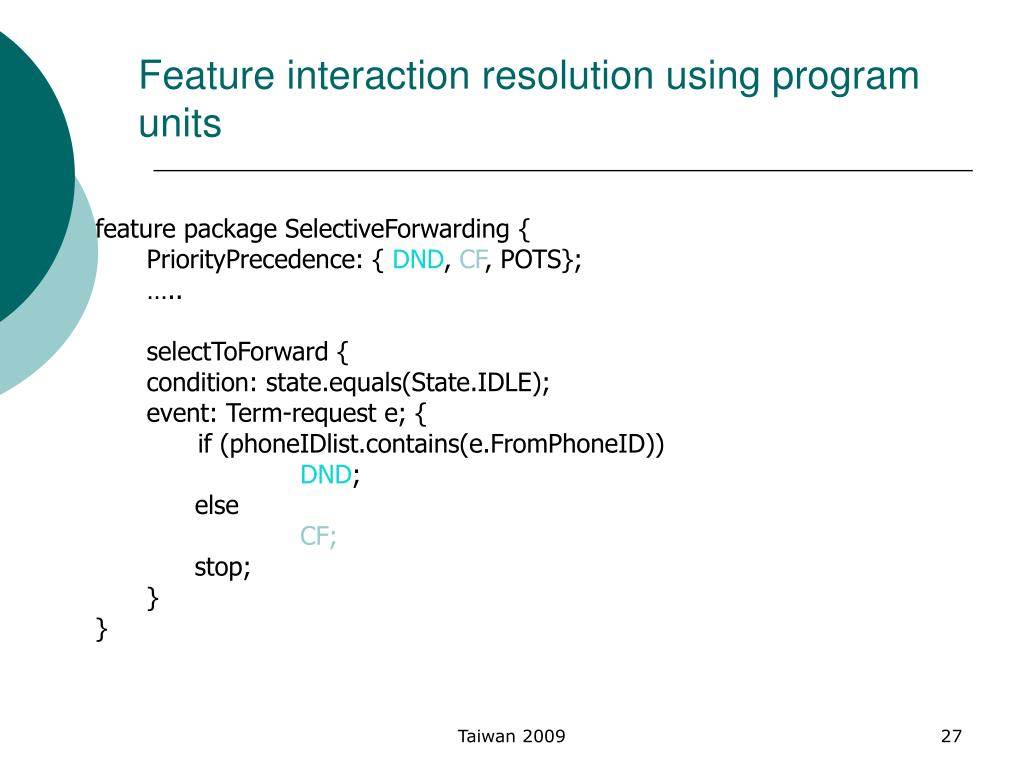 Feature interaction resolution using program units