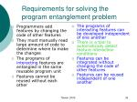 requirements for solving the program entanglement problem38