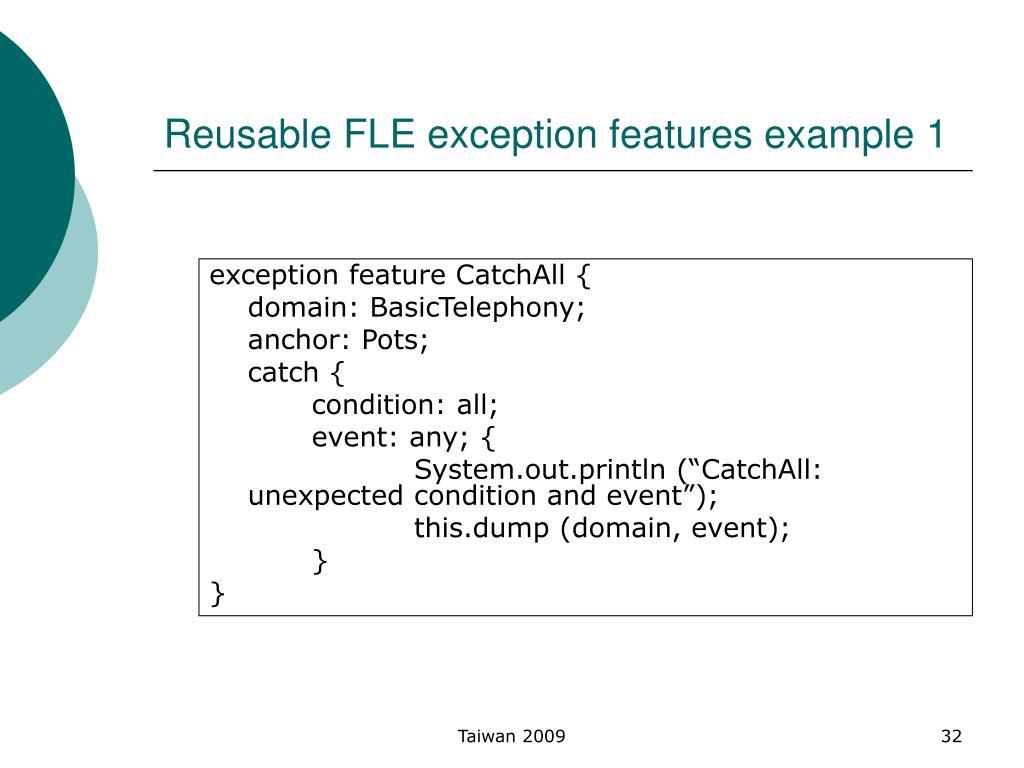 Reusable FLE exception features example 1