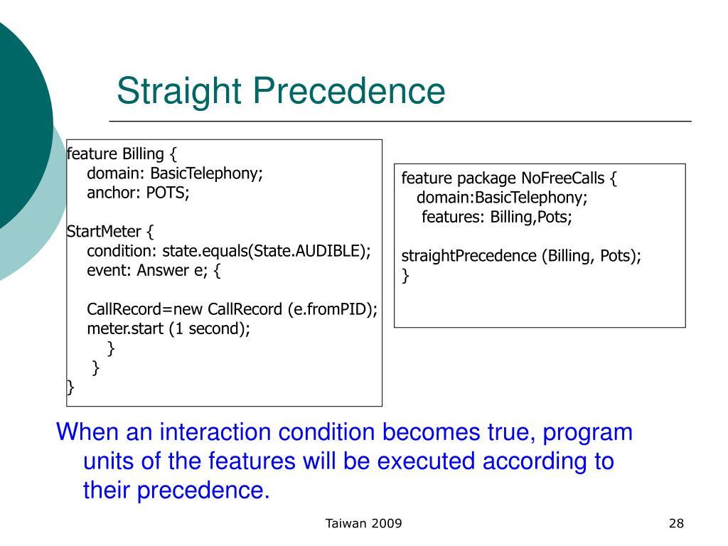 Straight Precedence