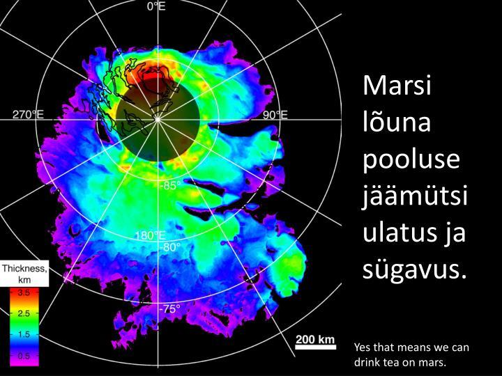 Marsi lõuna pooluse jäämütsi ulatus ja sügavus.