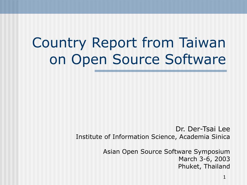 Country Report from Taiwan