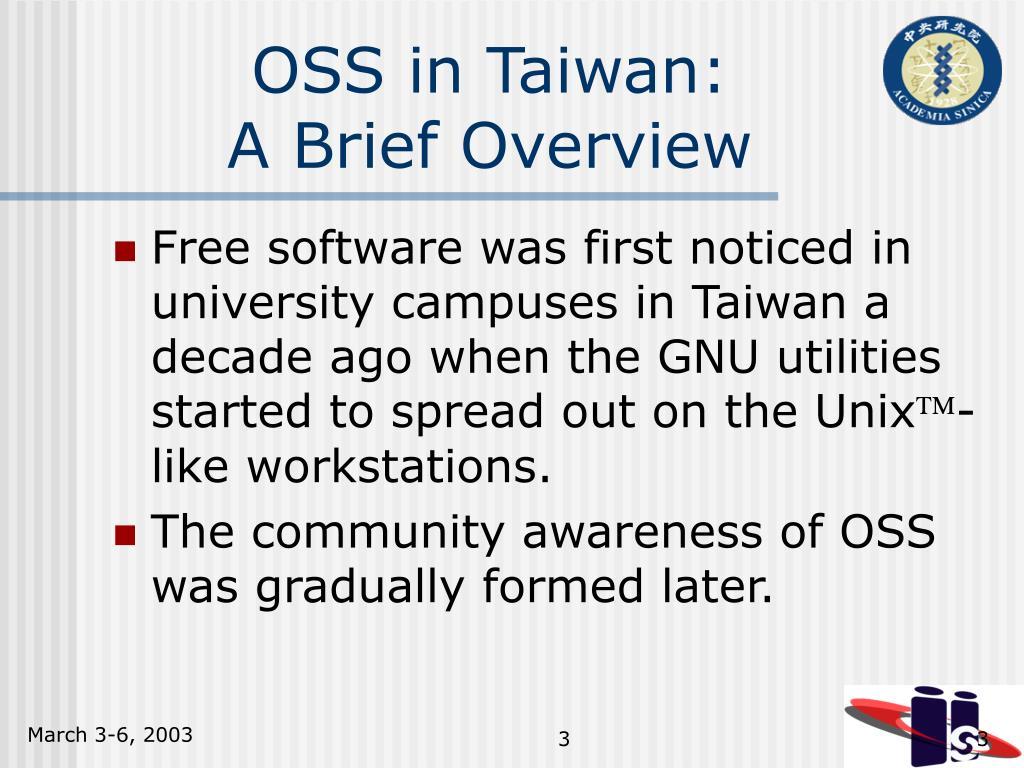 OSS in Taiwan: