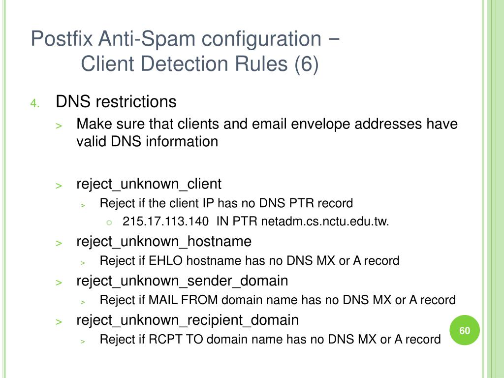 Postfix Anti-Spam configuration