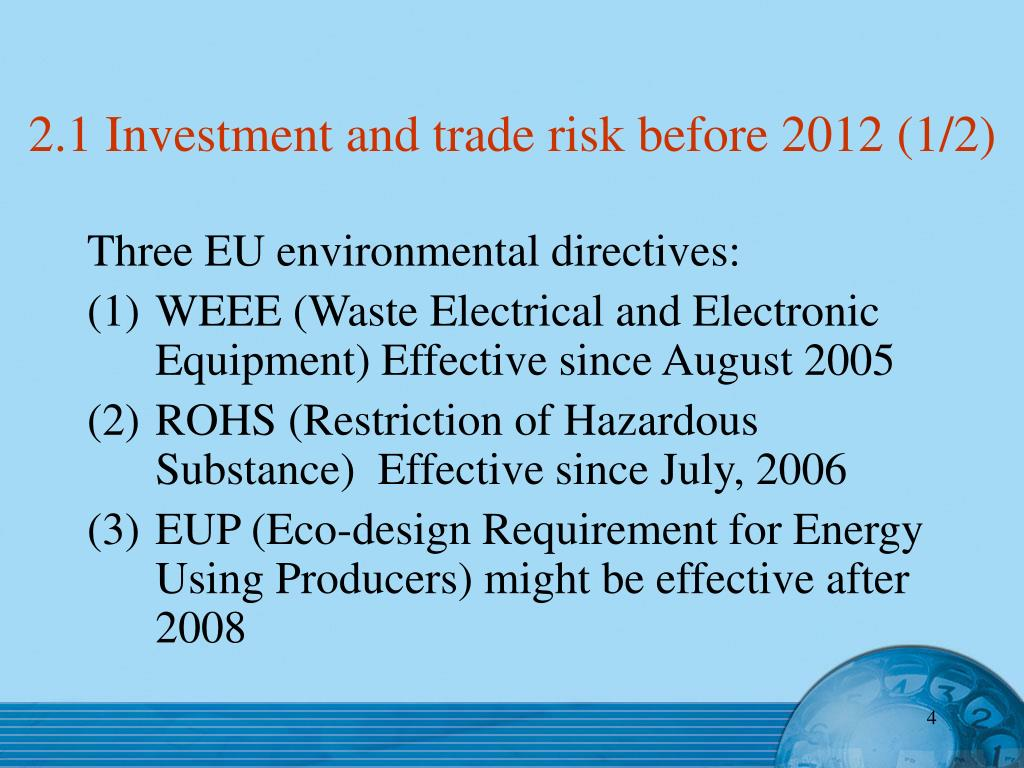 2.1 Investment and trade risk before 2012 (1/2)