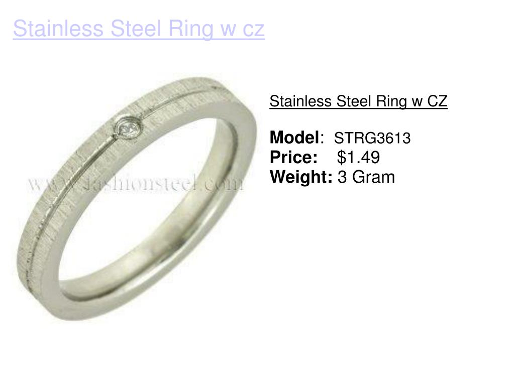 Stainless Steel Ring w CZ