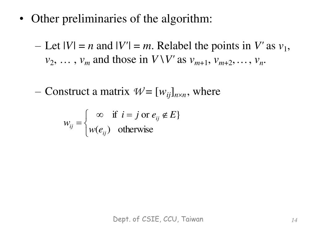 Other preliminaries of the algorithm: