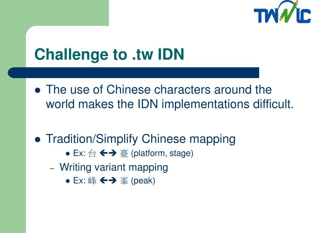 Challenge to .tw IDN