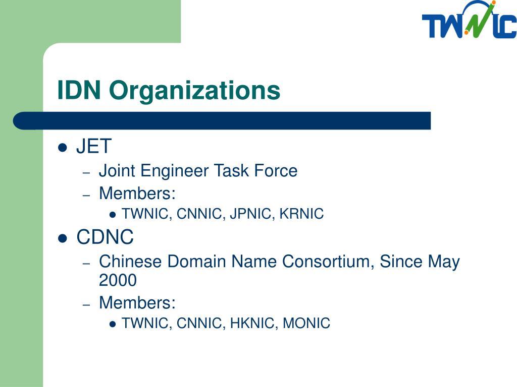 IDN Organizations