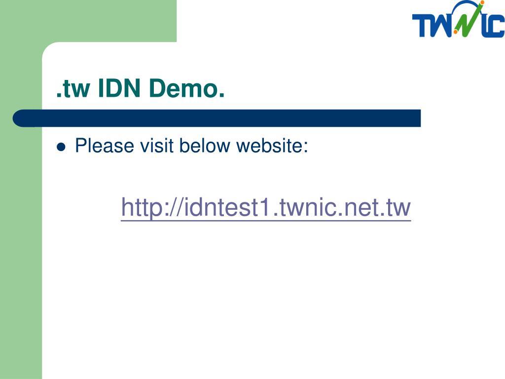 .tw IDN Demo.