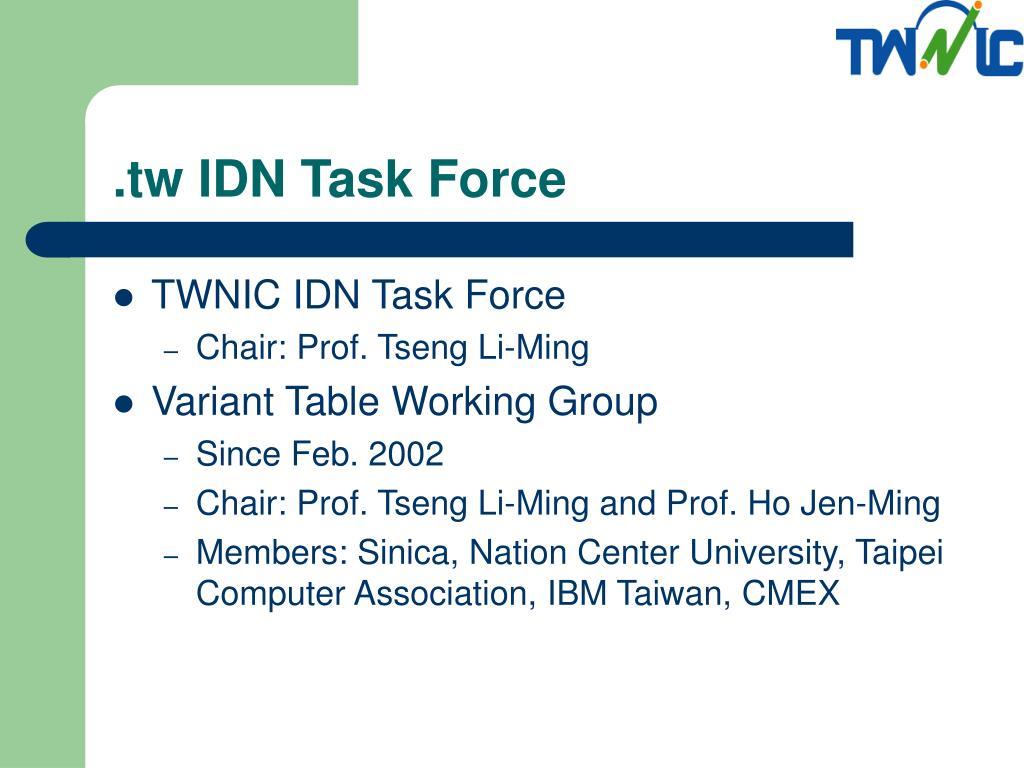 .tw IDN Task Force