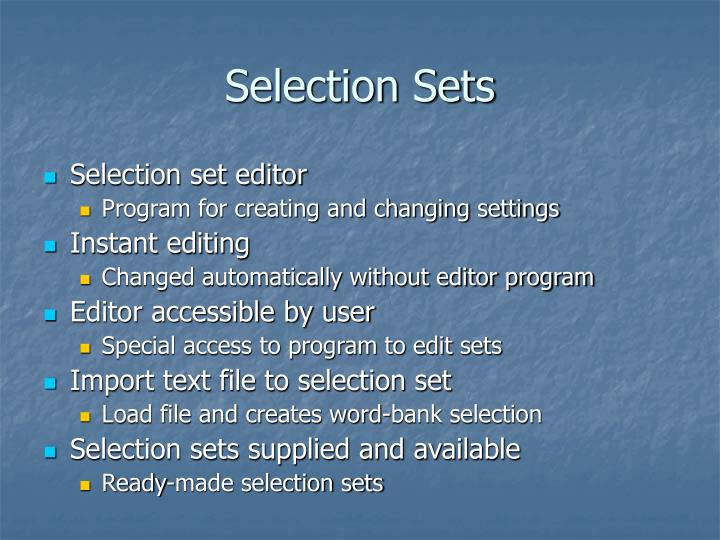 Selection Sets