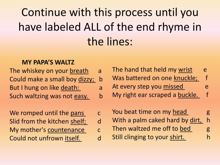 Continue with this process until you have labeled ALL of the end rhyme in the lines: