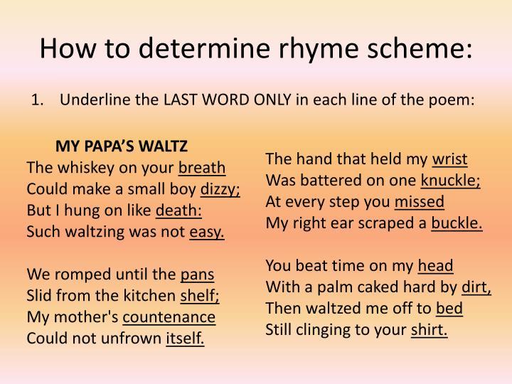 How to determine rhyme scheme: