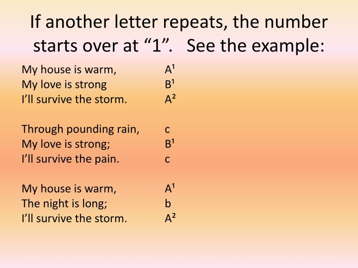 """If another letter repeats, the number starts over at """"1"""".   See the example:"""