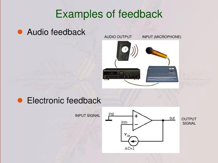 Examples of feedback