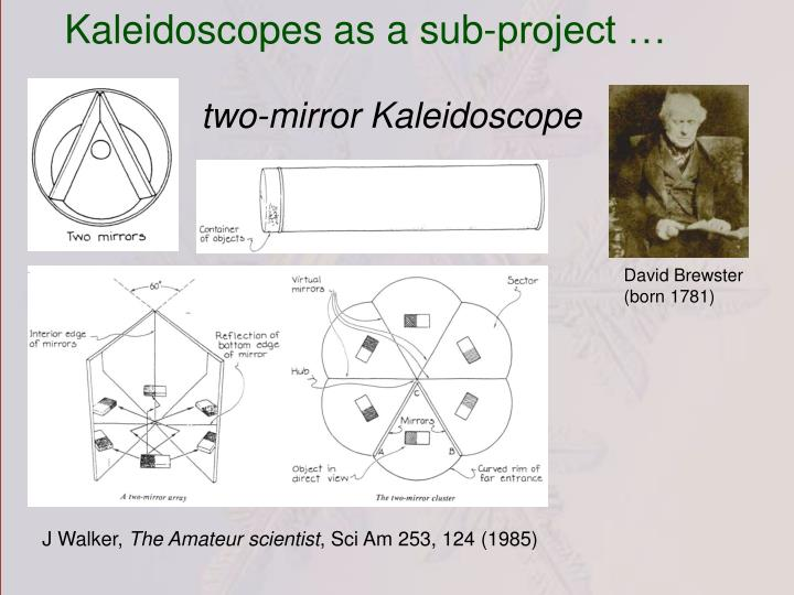 Kaleidoscopes as a sub-project …